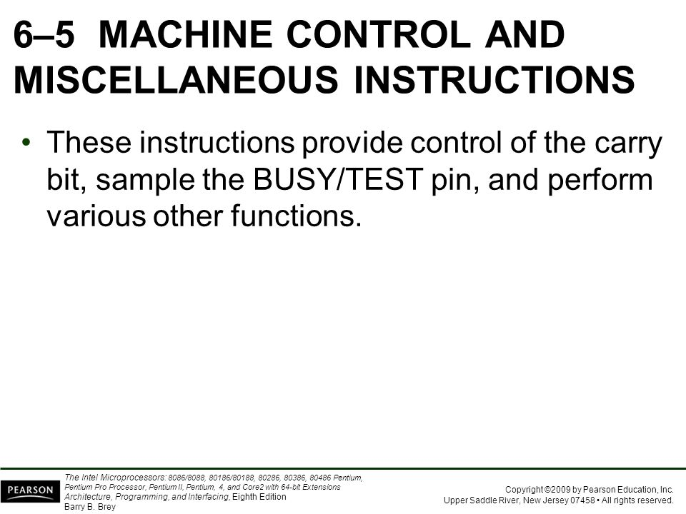6–5 MACHINE CONTROL AND MISCELLANEOUS INSTRUCTIONS