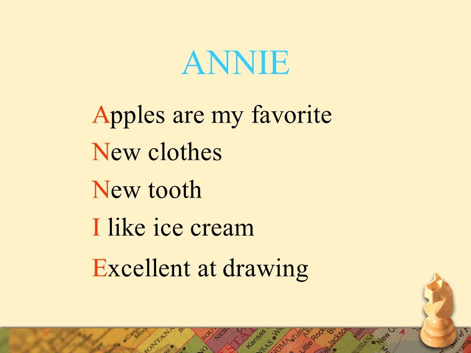 ANNIE Apples are my favorite New clothes New tooth I like ice cream