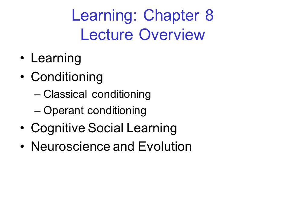 Learning: Chapter 8 Lecture Overview