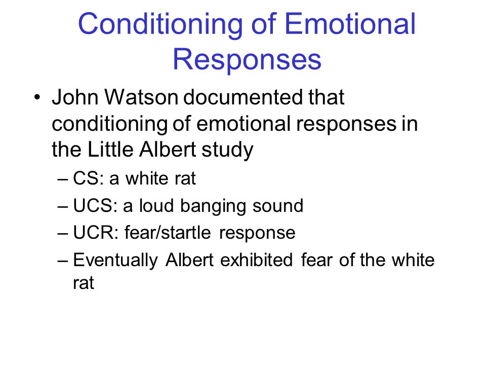 Conditioning of Emotional Responses