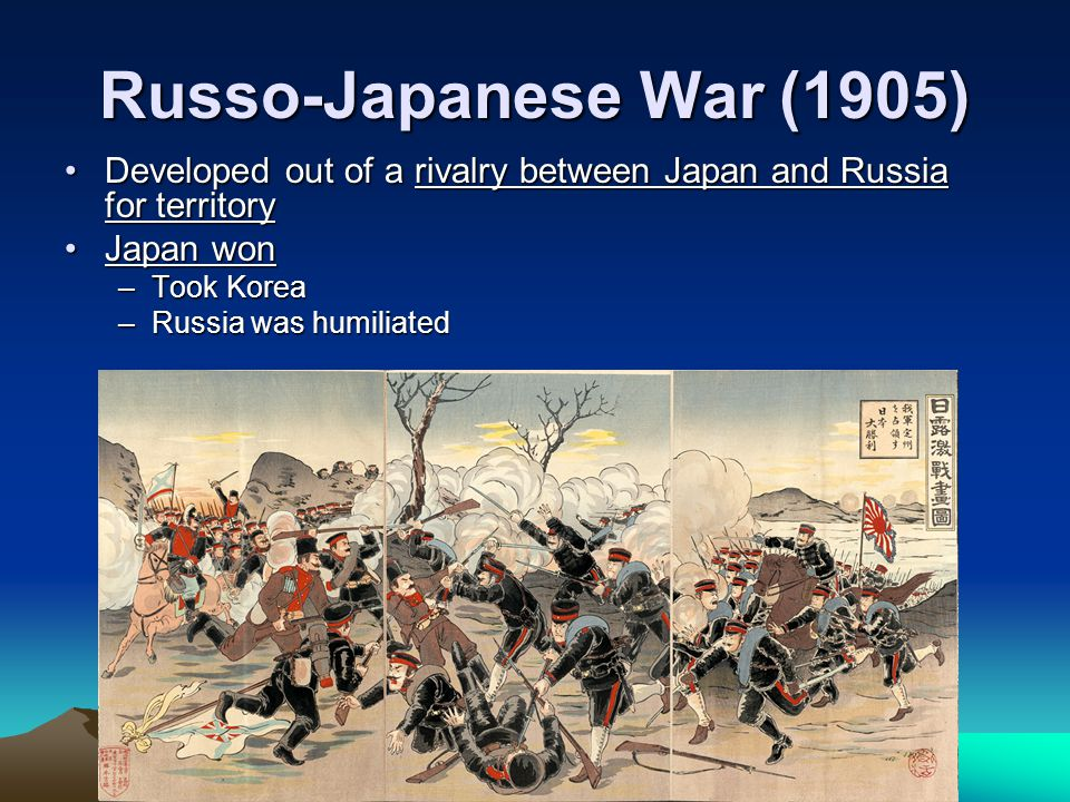 Russo-Japanese War (1905) Developed out of a rivalry between Japan and Russia for territory. Japan won.