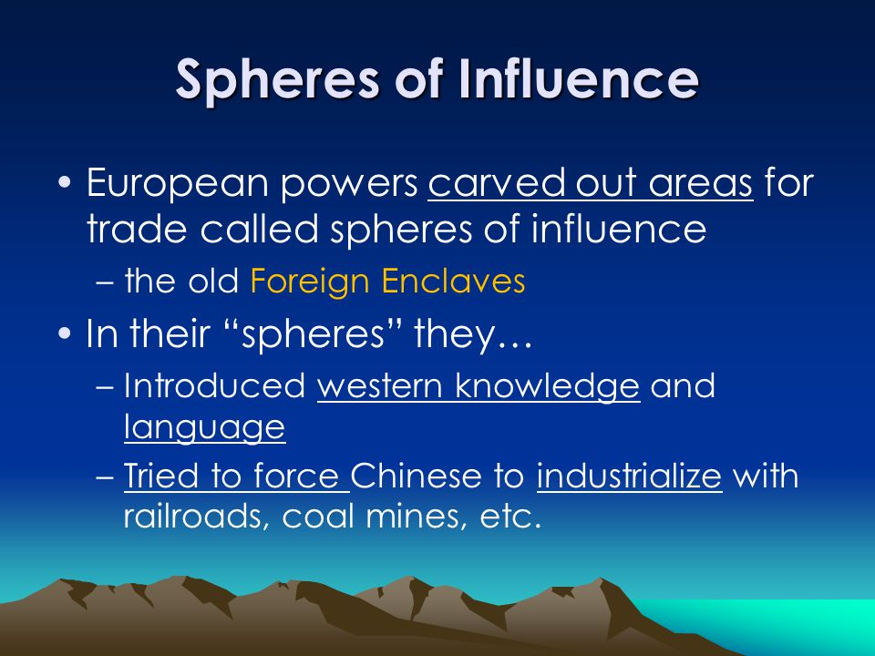 Spheres of Influence European powers carved out areas for trade called spheres of influence. the old Foreign Enclaves.