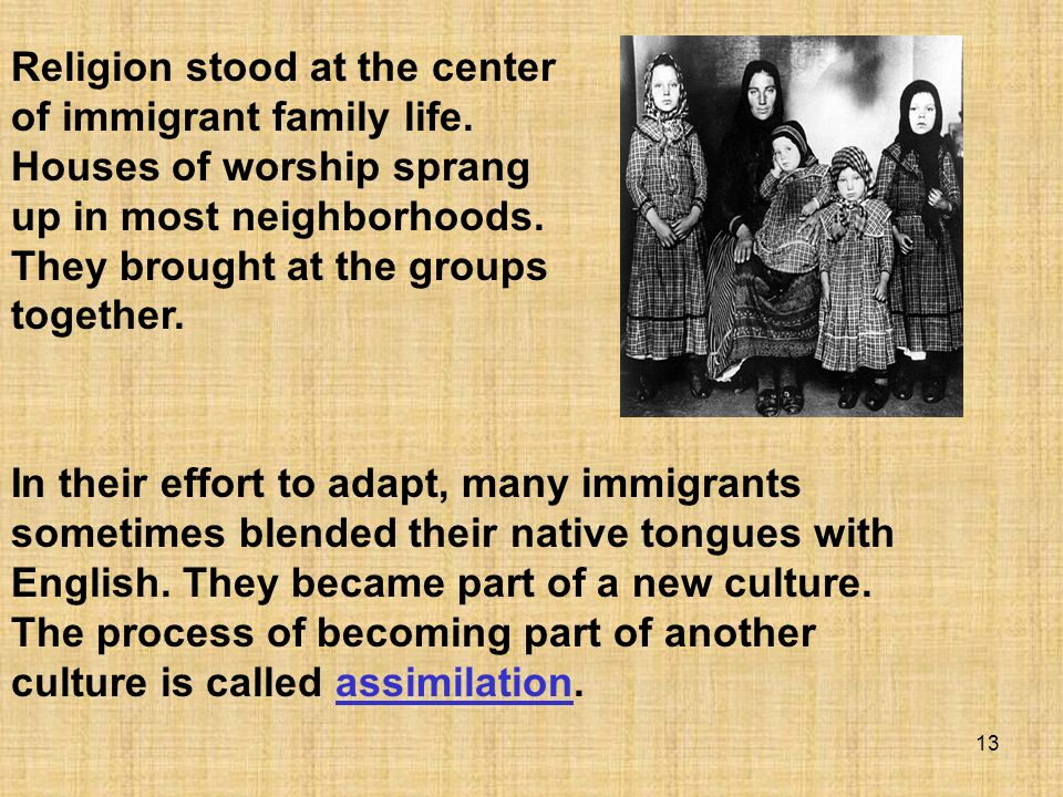 Religion stood at the center of immigrant family life