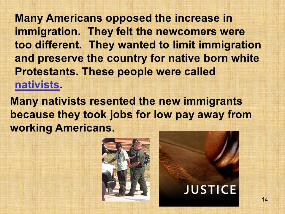 Many Americans opposed the increase in immigration