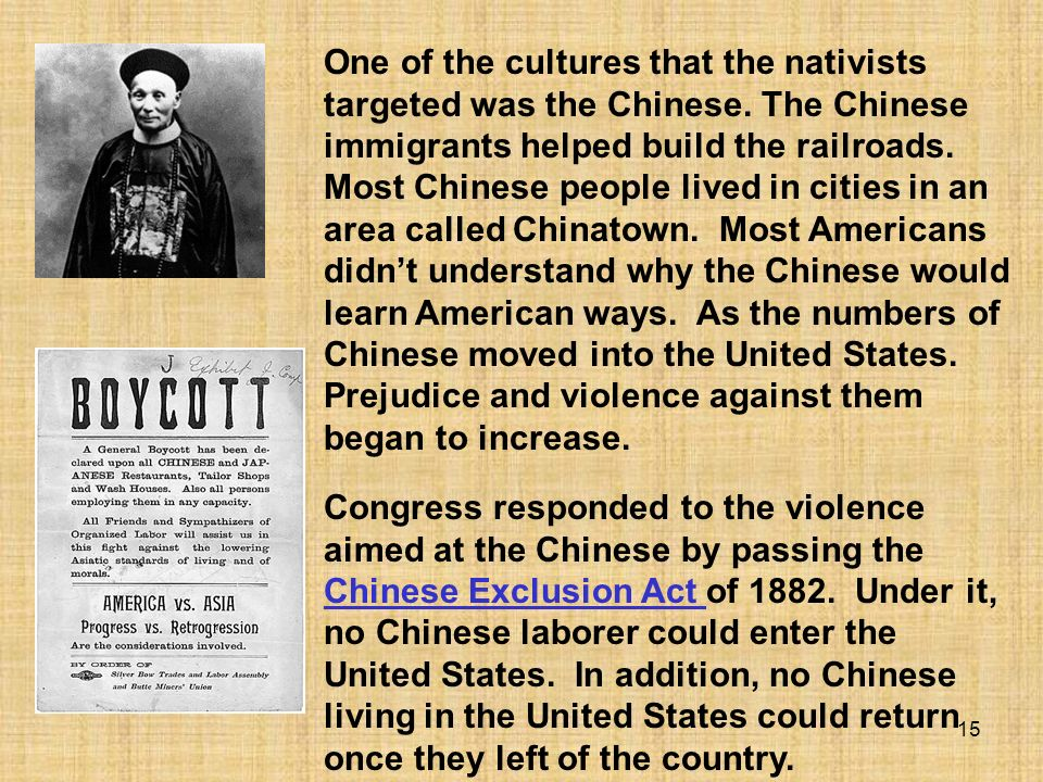 One of the cultures that the nativists targeted was the Chinese