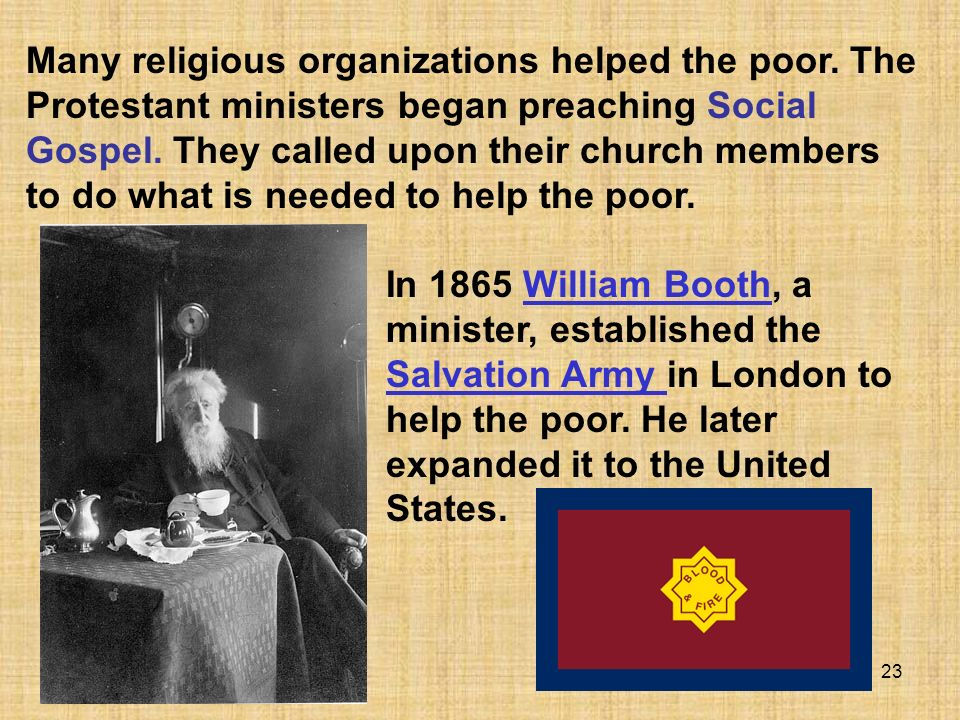 Many religious organizations helped the poor