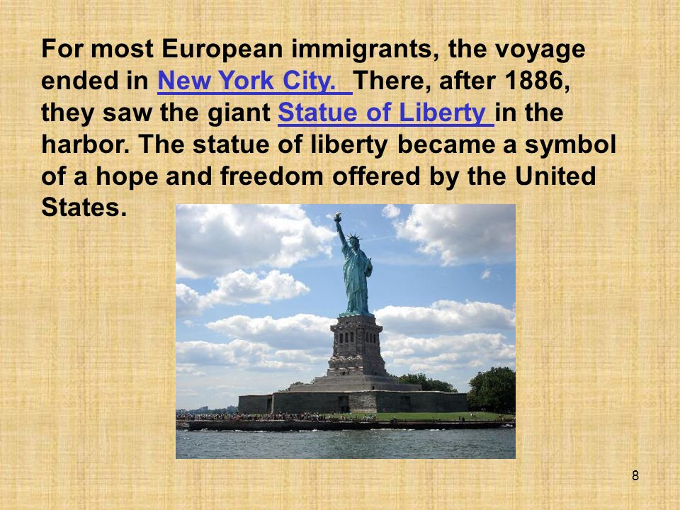 For most European immigrants, the voyage ended in New York City