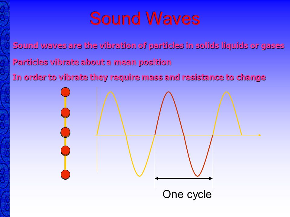 Sound WavesSound waves are the vibration of particles in solids liquids or gases. Particles vibrate about a mean position.