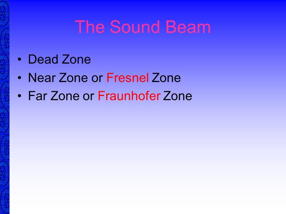 The Sound Beam Dead Zone Near Zone or Fresnel Zone