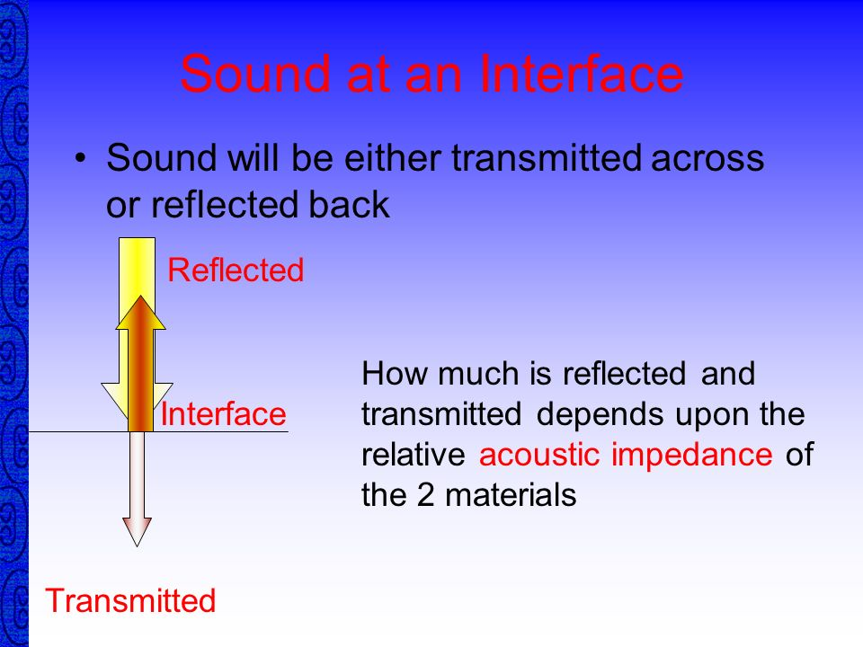 Sound at an InterfaceSound will be either transmitted across or reflected back. Reflected.