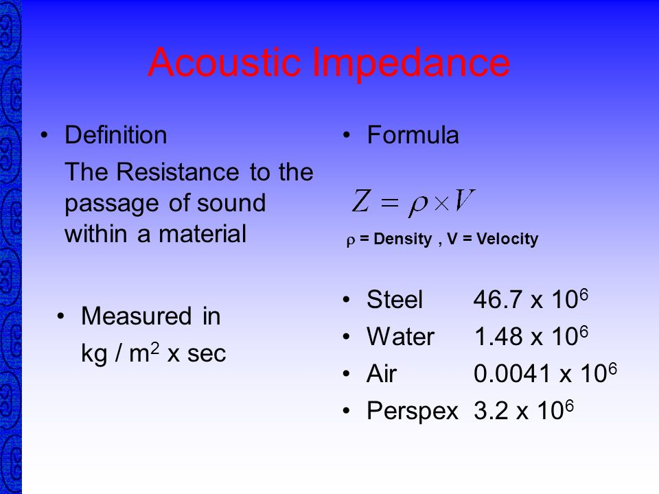 Acoustic Impedance Definition