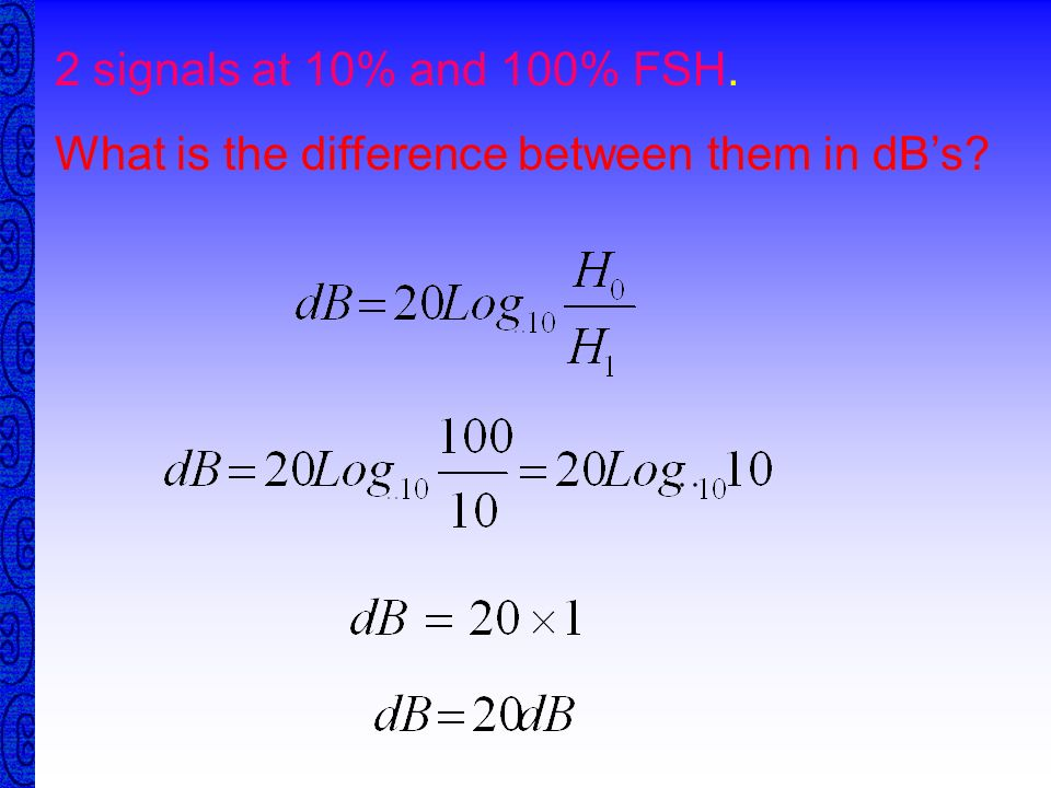 2 signals at 10% and 100% FSH. What is the difference between them in dB's