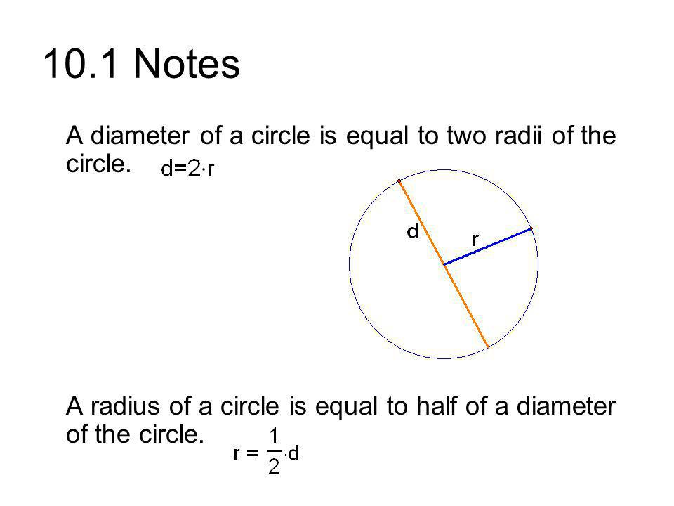 10.1 Notes A diameter of a circle is equal to two radii of the circle.