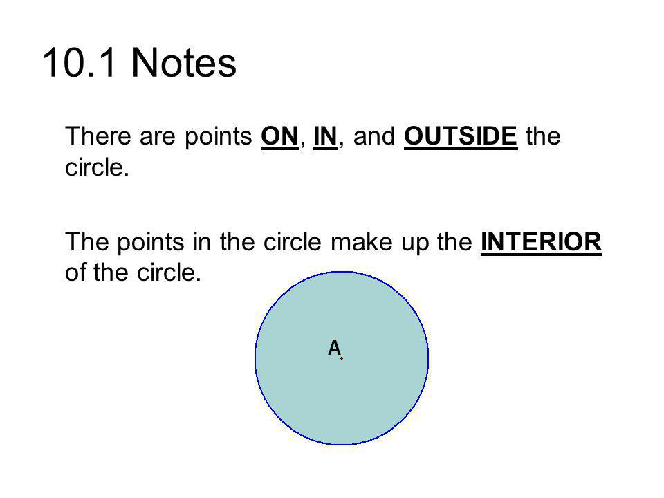 10.1 Notes There are points ON, IN, and OUTSIDE the circle.