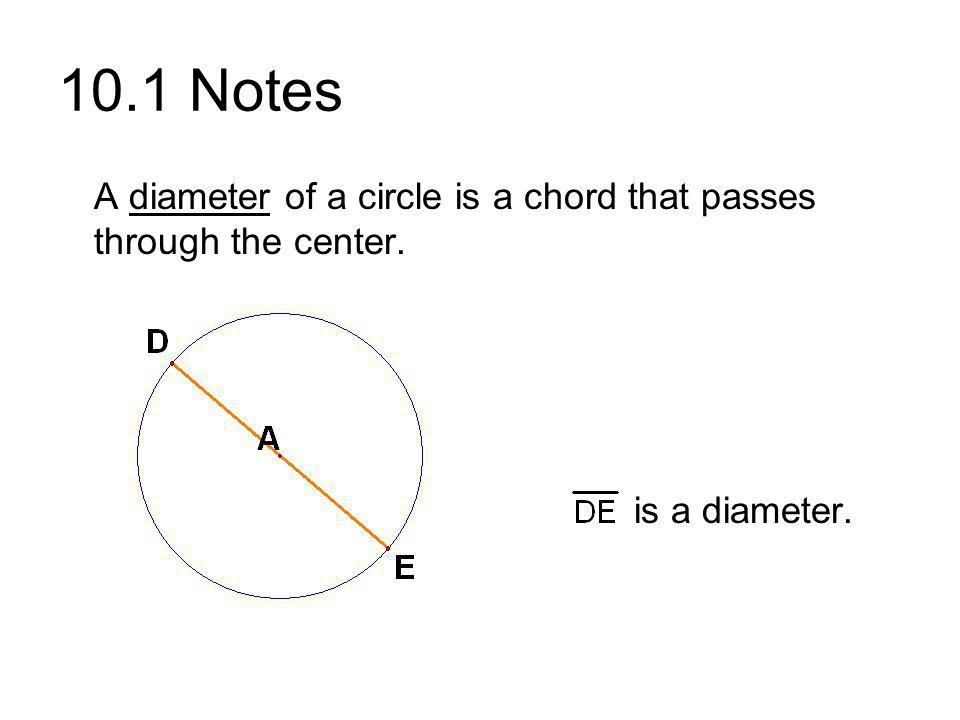 10.1 Notes A diameter of a circle is a chord that passes through the center. is a diameter.