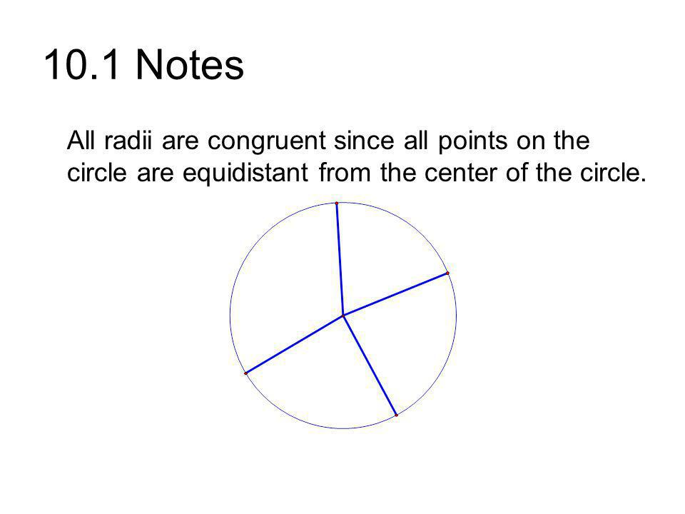 10.1 Notes All radii are congruent since all points on the circle are equidistant from the center of the circle.