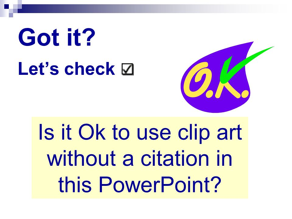 Is it Ok to use clip art without a citation in this PowerPoint