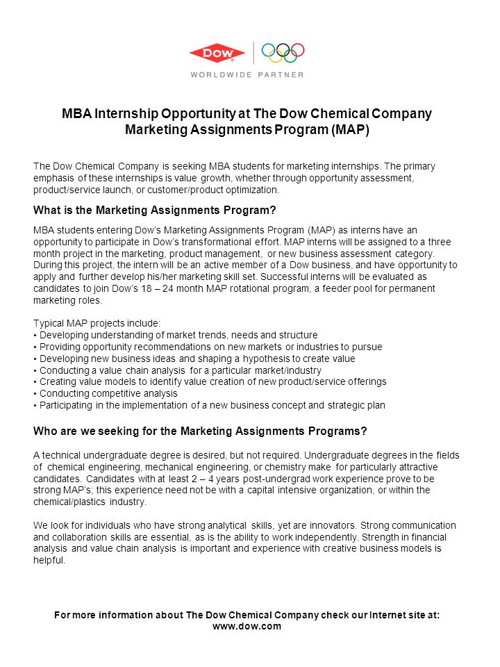 MBA Internship Opportunity at The Dow Chemical Company