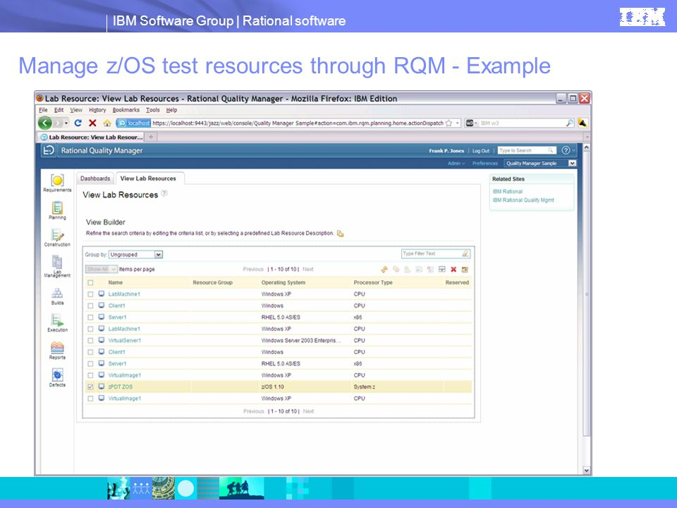 Manage z/OS test resources through RQM - Example