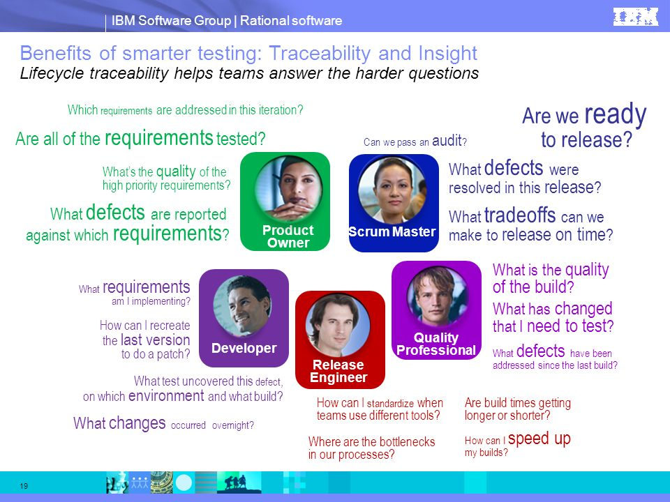 Benefits of smarter testing: Traceability and Insight Lifecycle traceability helps teams answer the harder questions