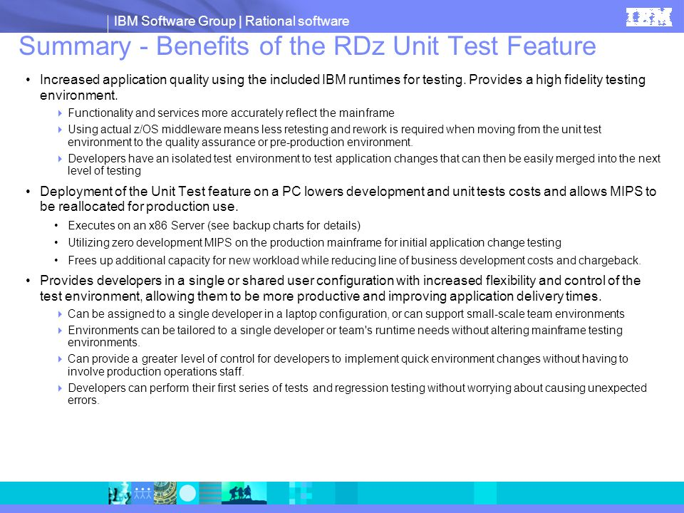 Summary - Benefits of the RDz Unit Test Feature