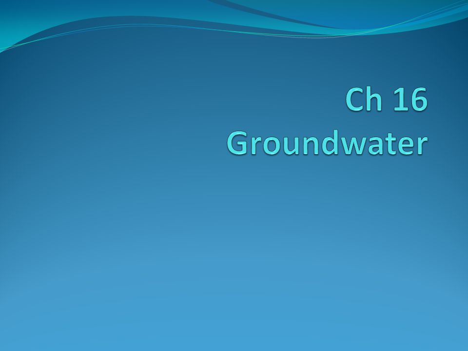 Ch 16 Groundwater