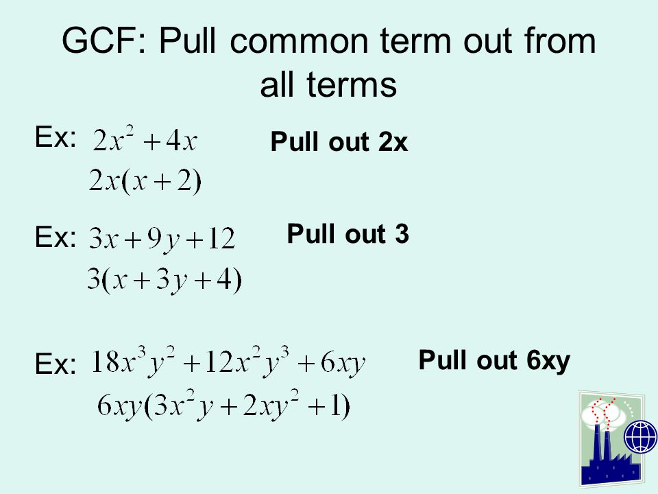 GCF: Pull common term out from all terms