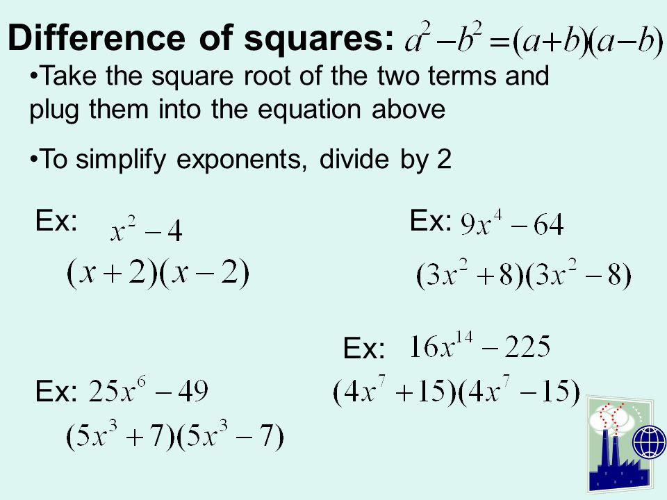 Difference of squares: