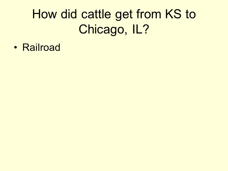 How did cattle get from KS to Chicago, IL