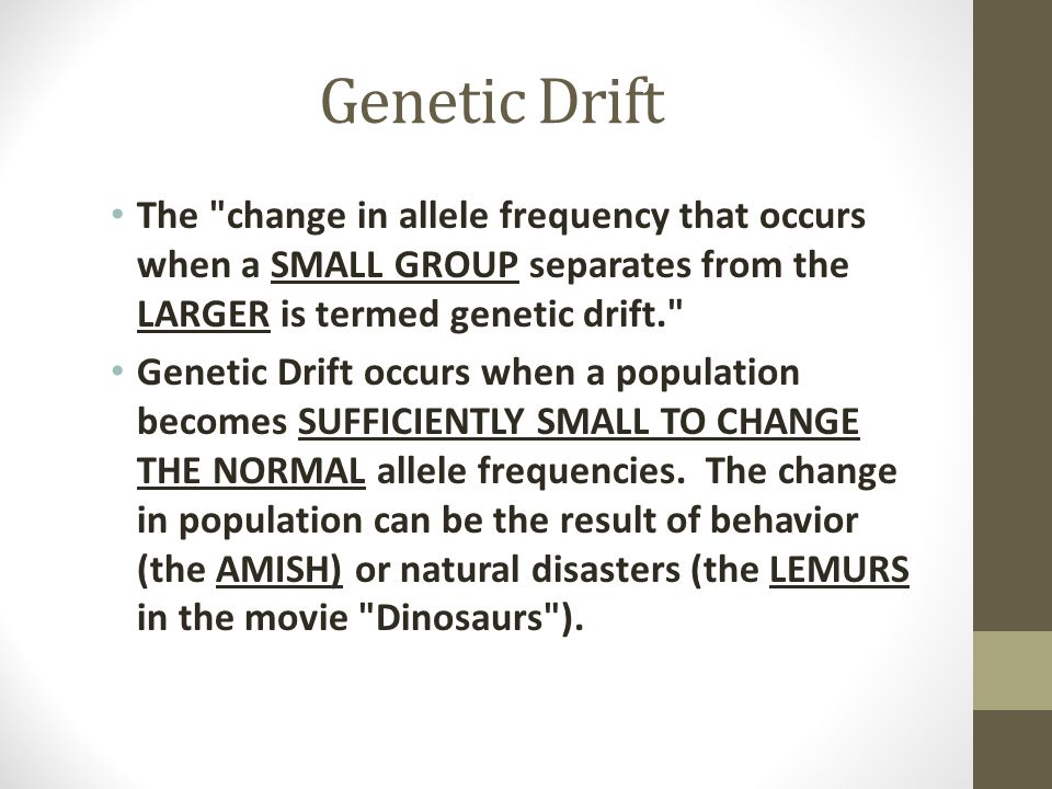 Genetic Drift The change in allele frequency that occurs when a SMALL GROUP separates from the LARGER is termed genetic drift.