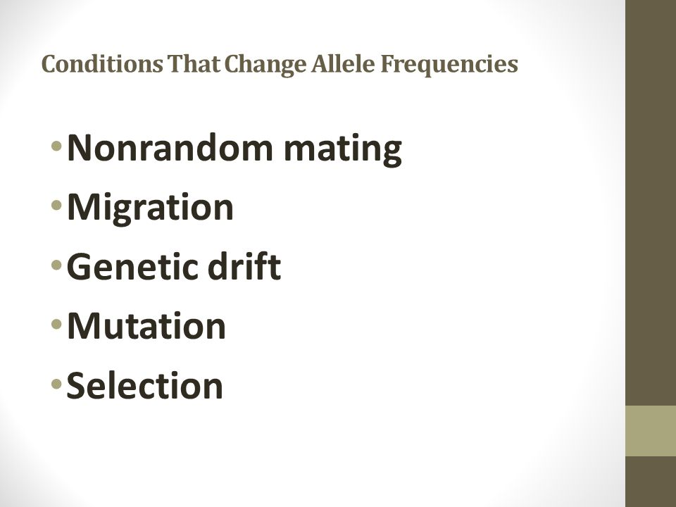 Conditions That Change Allele Frequencies