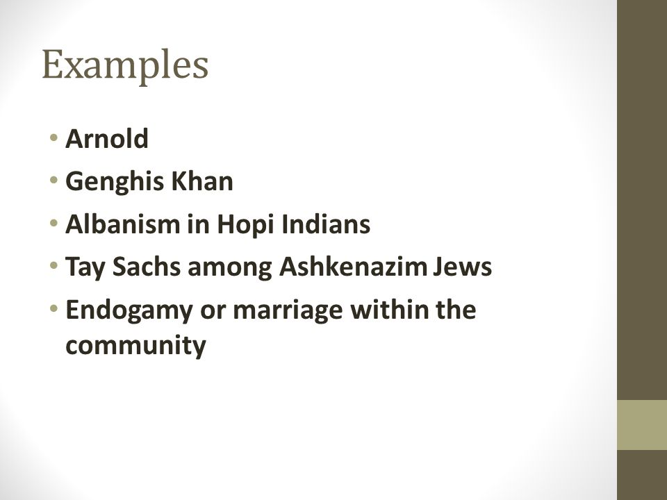 Examples Arnold Genghis Khan Albanism in Hopi Indians