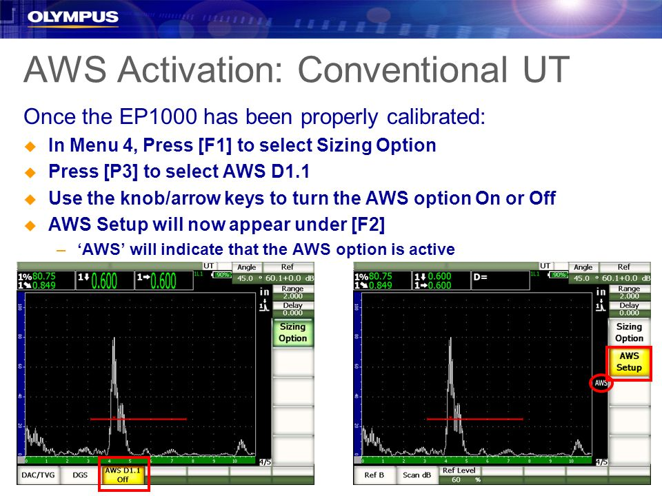 AWS Activation: Conventional UT