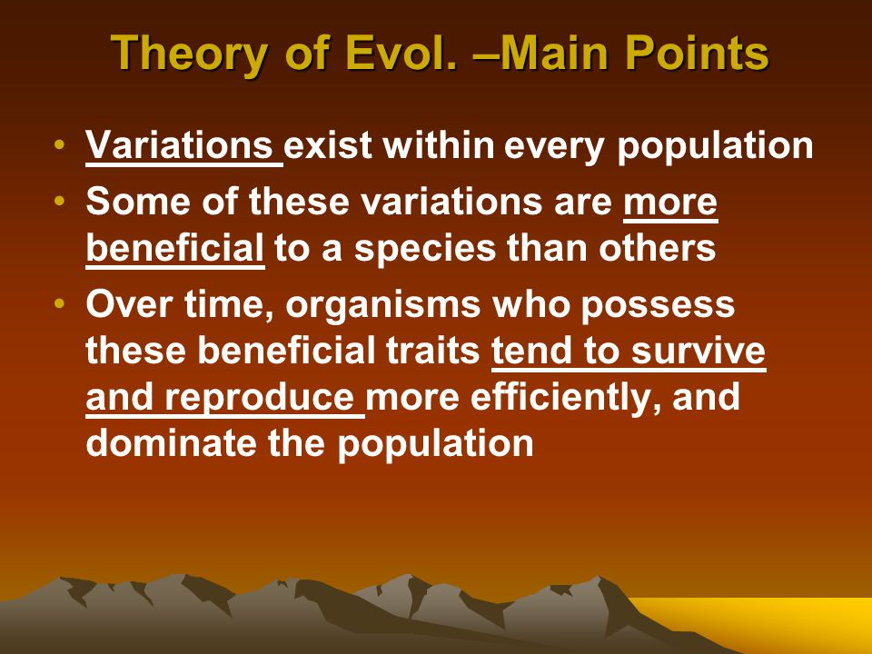 Theory of Evol. –Main Points