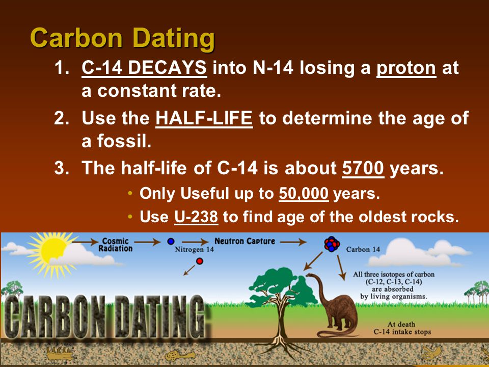 Carbon Dating C-14 DECAYS into N-14 losing a proton at a constant rate. Use the HALF-LIFE to determine the age of a fossil.