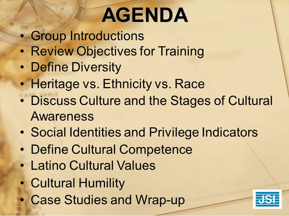 AGENDA Group Introductions Review Objectives for Training