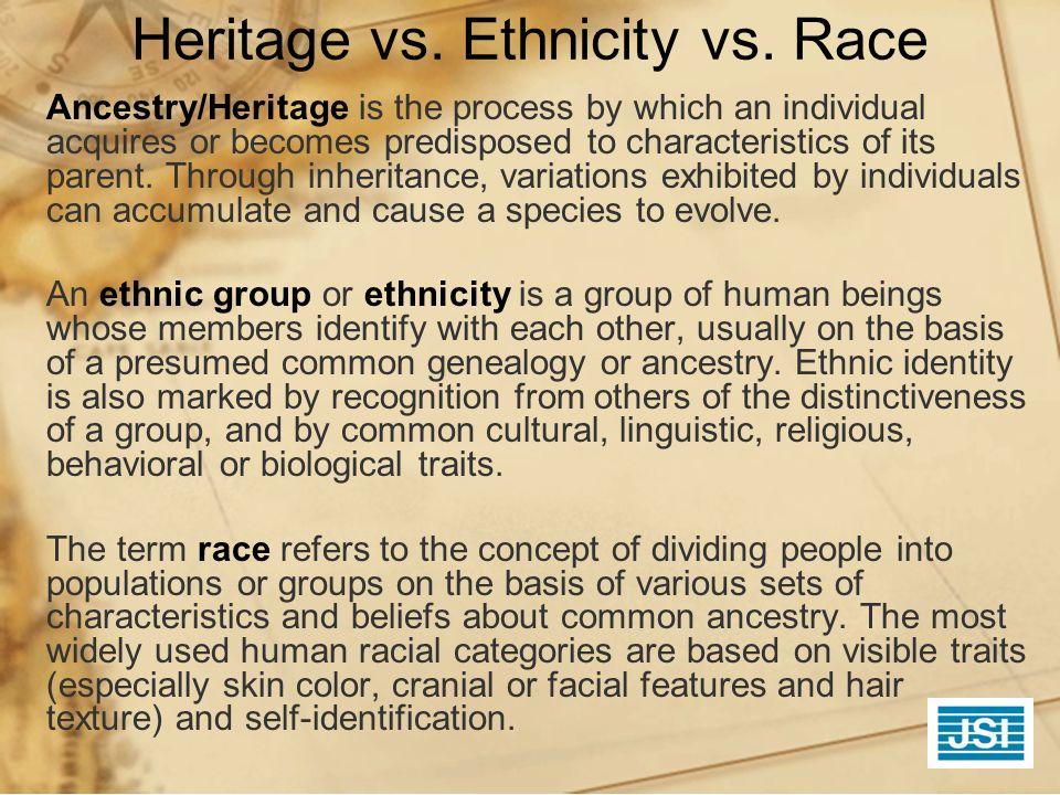 Heritage vs. Ethnicity vs. Race