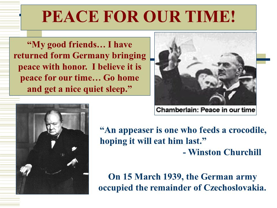 PEACE FOR OUR TIME!