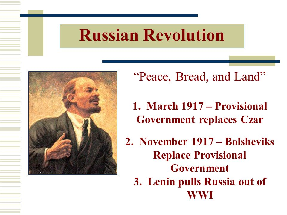 Russian Revolution Peace, Bread, and Land