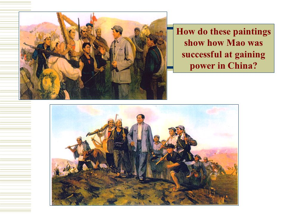 How do these paintings show how Mao was successful at gaining power in China