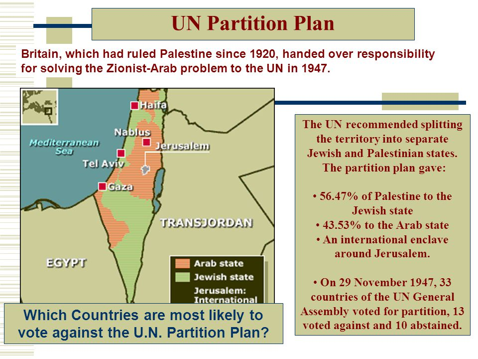 UN Partition Plan Britain, which had ruled Palestine since 1920, handed over responsibility for solving the Zionist-Arab problem to the UN in 1947.