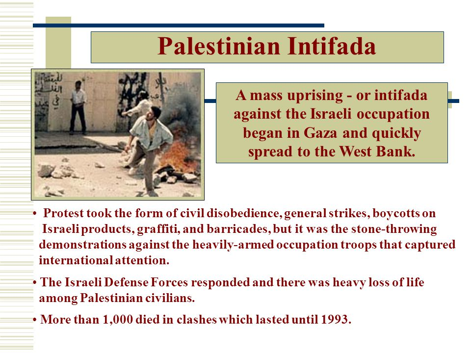 Palestinian Intifada A mass uprising - or intifada against the Israeli occupation began in Gaza and quickly spread to the West Bank.