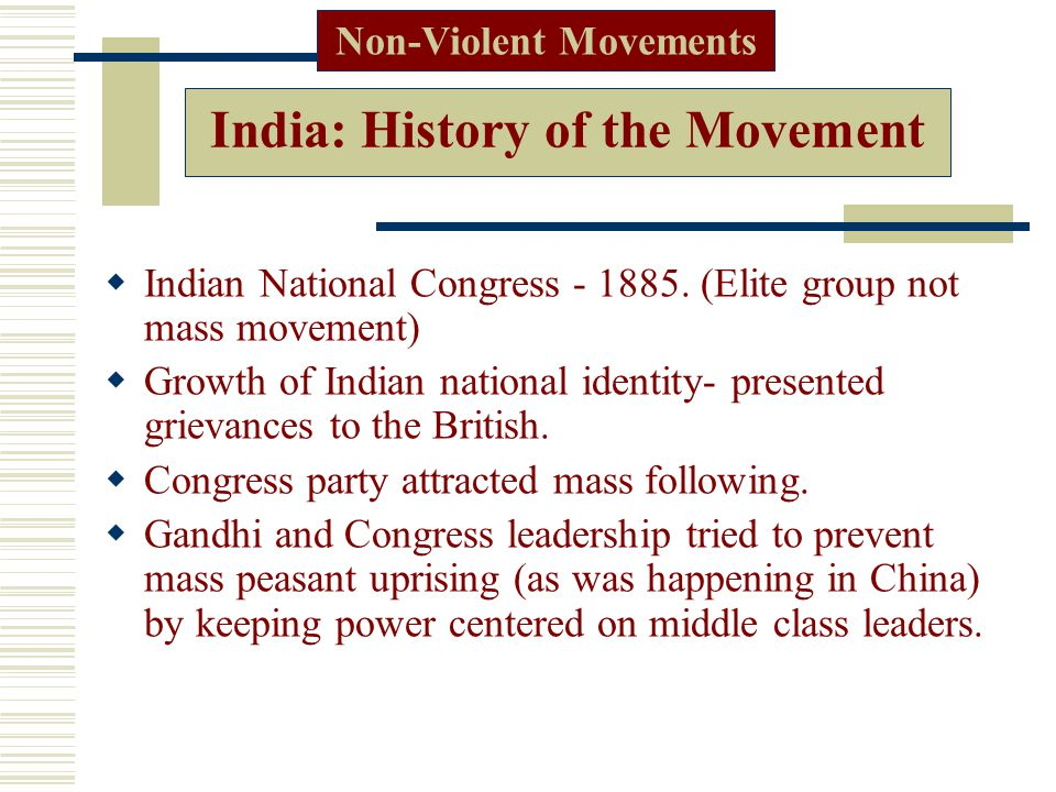 India: History of the Movement