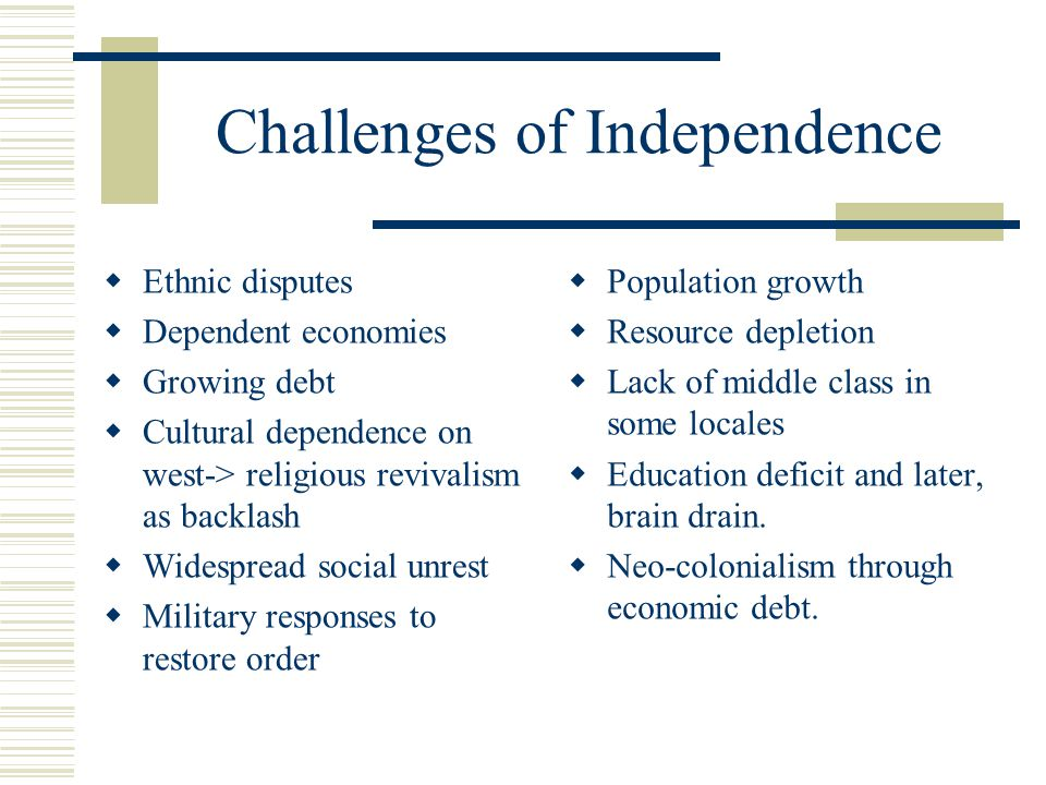 Challenges of Independence