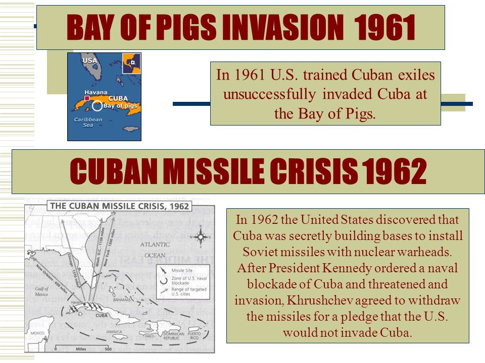 BAY OF PIGS INVASION 1961 CUBAN MISSILE CRISIS 1962