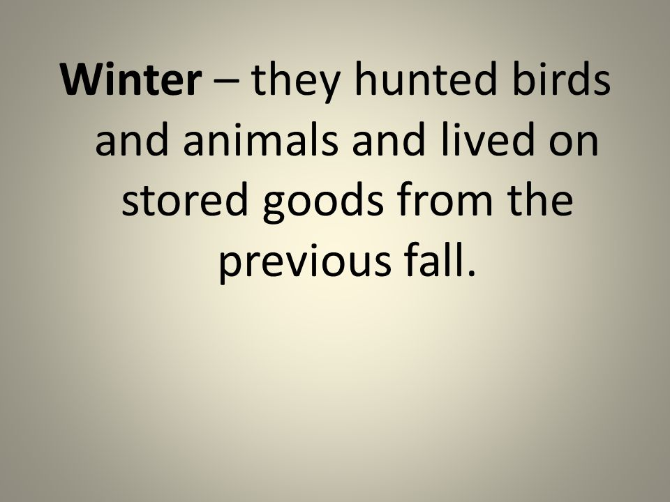 Winter – they hunted birds and animals and lived on stored goods from the previous fall.