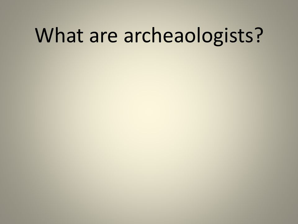 What are archeaologists