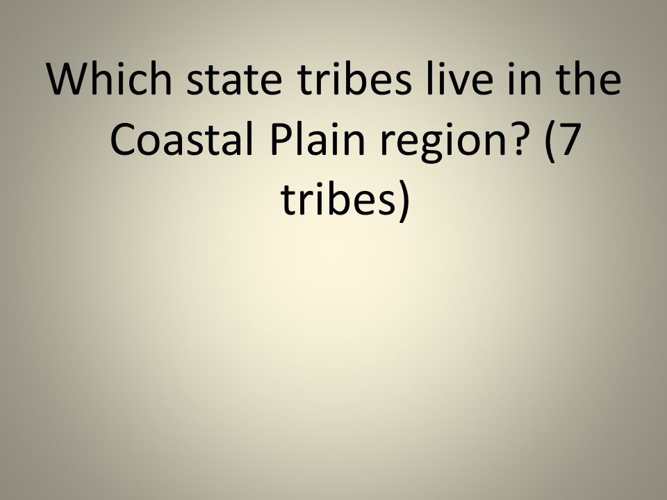 Which state tribes live in the Coastal Plain region (7 tribes)