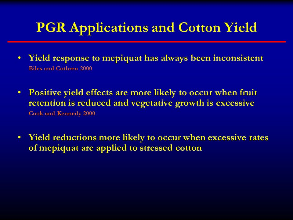 PGR Applications and Cotton Yield