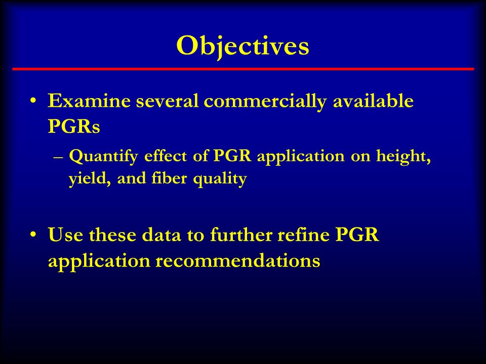 Objectives Examine several commercially available PGRs